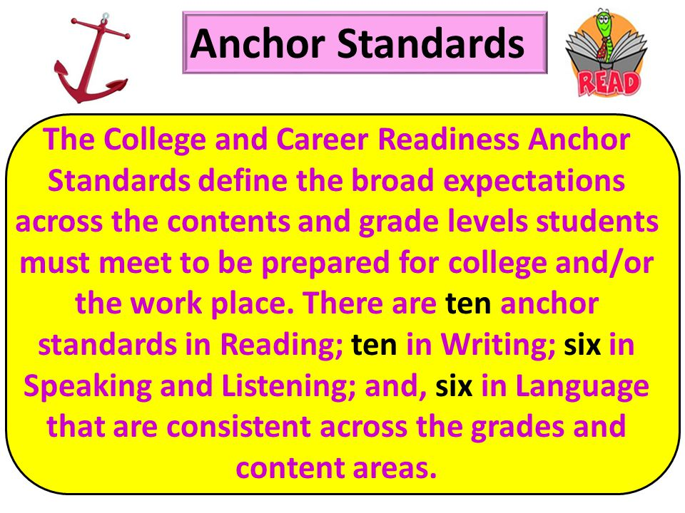 The College and Career Readiness Anchor Standards define the broad expectations across the contents and grade levels students must meet to be prepared