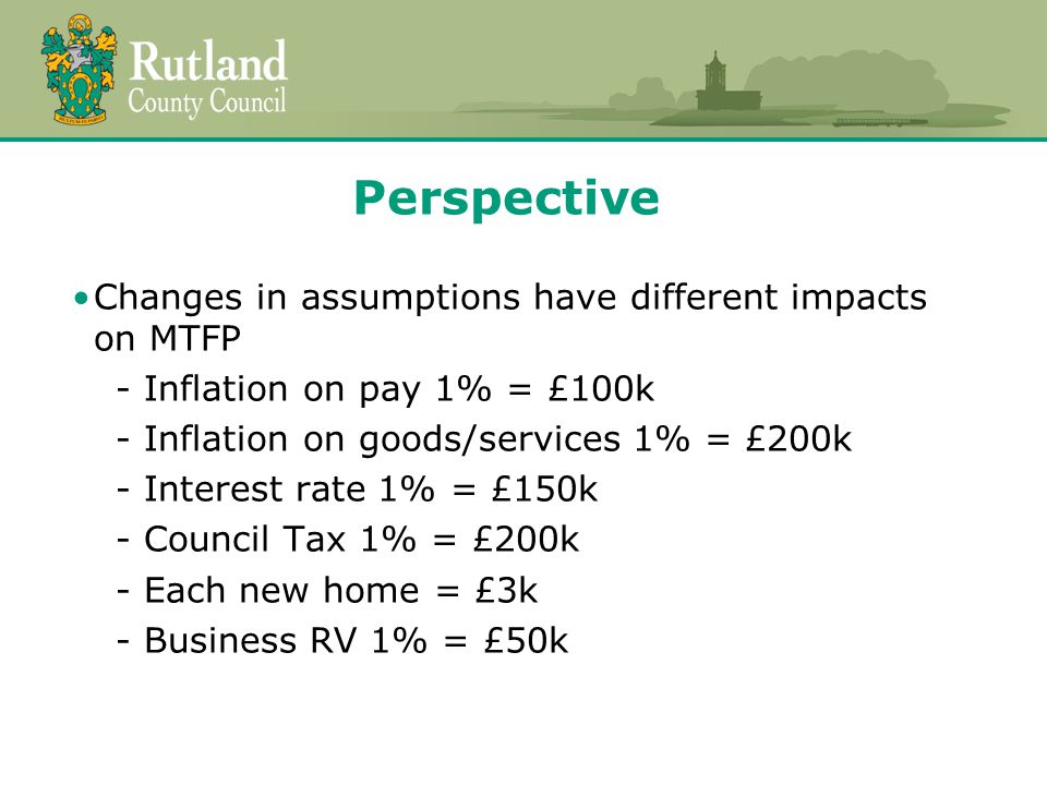 Perspective Changes in assumptions have different impacts on MTFP - Inflation on pay 1% = £100k - Inflation on goods/services 1% = £200k - Interest rate 1% = £150k - Council Tax 1% = £200k - Each new home = £3k - Business RV 1% = £50k