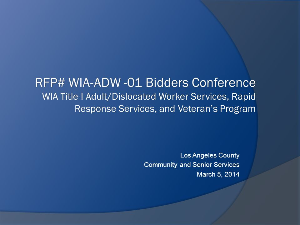 Los Angeles County Community and Senior Services March 5, 2014