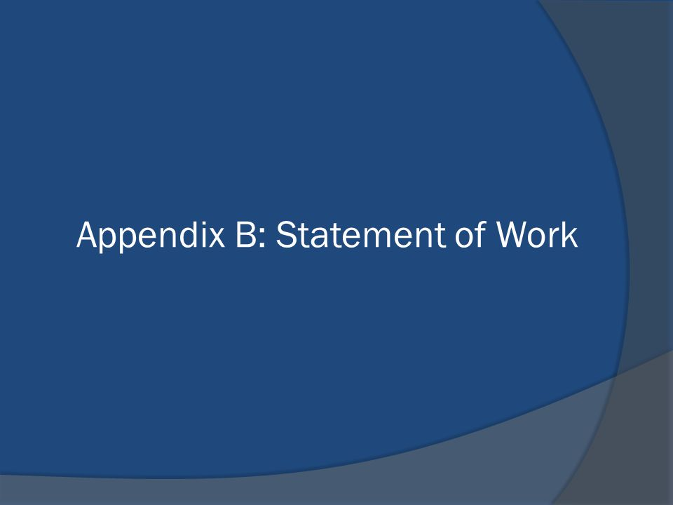 Appendix B: Statement of Work