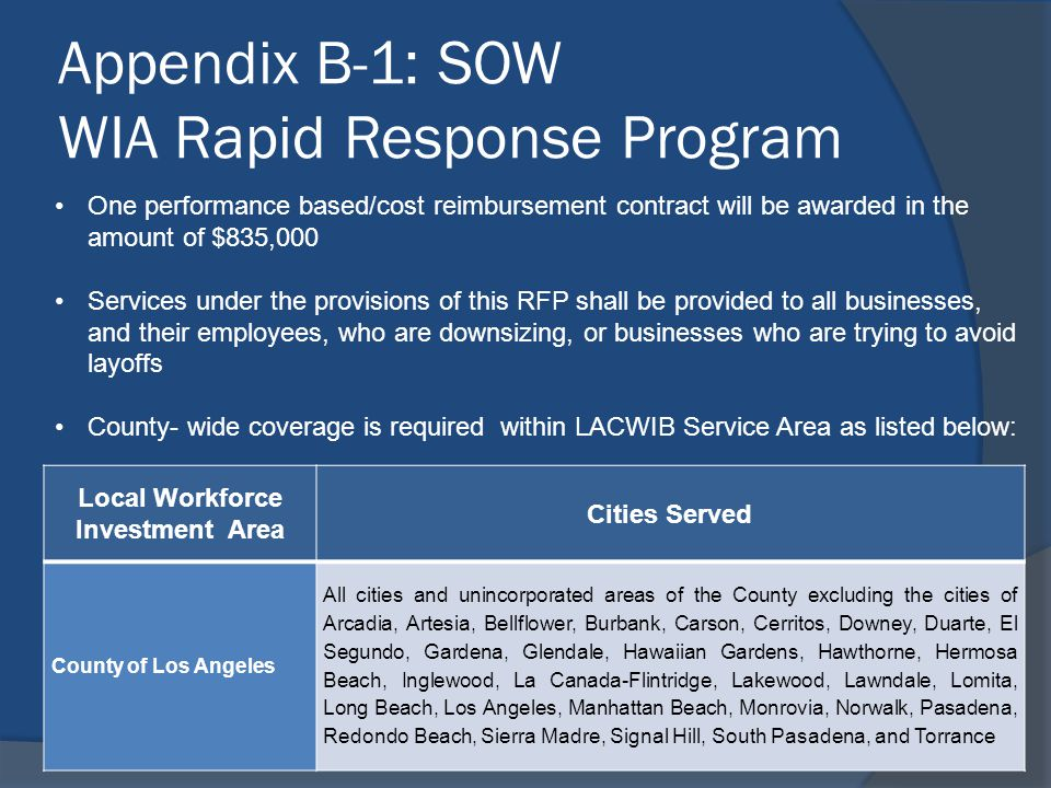 Appendix B-1: SOW WIA Rapid Response Program One performance based/cost reimbursement contract will be awarded in the amount of $835,000 Services unde