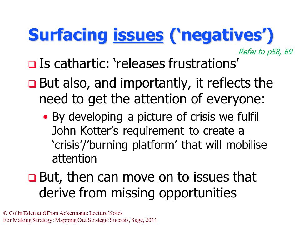 © Colin Eden and Fran Ackermann: Lecture Notes For Making Strategy: Mapping Out Strategic Success, Sage, 2011 Surfacing issues ('negatives')  Is cath