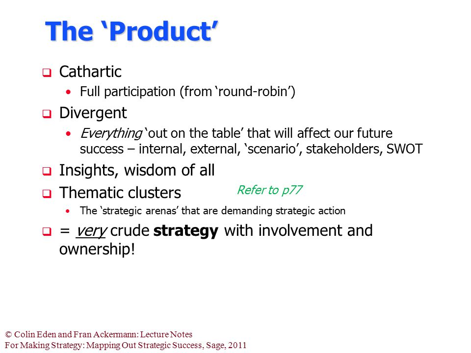 © Colin Eden and Fran Ackermann: Lecture Notes For Making Strategy: Mapping Out Strategic Success, Sage, 2011 The 'Product'  Cathartic Full participa