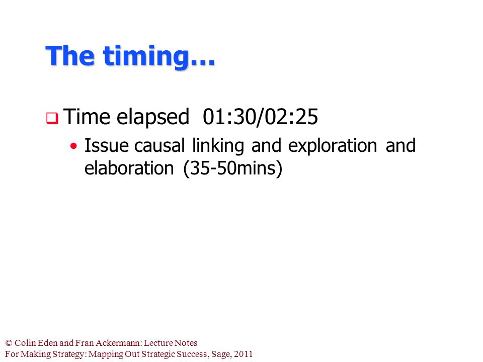 © Colin Eden and Fran Ackermann: Lecture Notes For Making Strategy: Mapping Out Strategic Success, Sage, 2011 The timing…  Time elapsed 01:30/02:25 I
