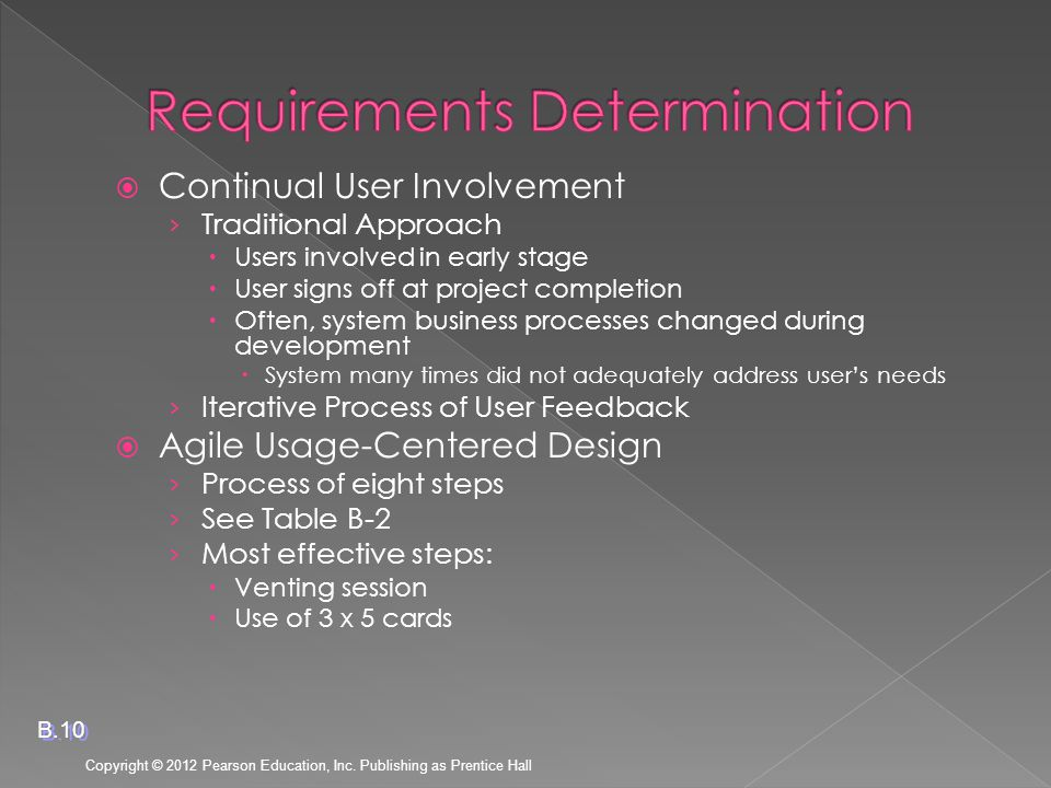  Continual User Involvement › Traditional Approach  Users involved in early stage  User signs off at project completion  Often, system business processes changed during development  System many times did not adequately address user's needs › Iterative Process of User Feedback  Agile Usage-Centered Design › Process of eight steps › See Table B-2 › Most effective steps:  Venting session  Use of 3 x 5 cards Copyright © 2012 Pearson Education, Inc.