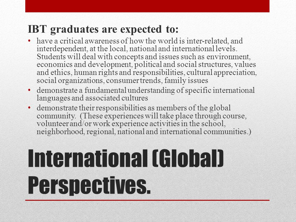 International (Global) Perspectives.