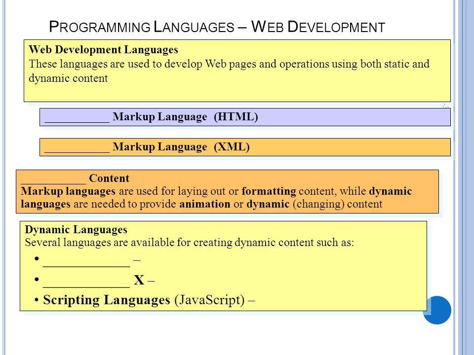 B-34 P ROGRAMMING L ANGUAGES – W EB D EVELOPMENT Web Development Languages These languages are used to develop Web pages and operations using both static and dynamic content Web Development Languages These languages are used to develop Web pages and operations using both static and dynamic content ___________ Markup Language (HTML) ___________ Markup Language (XML) ___________ Content Markup languages are used for laying out or formatting content, while dynamic languages are needed to provide animation or dynamic (changing) content ___________ Content Markup languages are used for laying out or formatting content, while dynamic languages are needed to provide animation or dynamic (changing) content Dynamic Languages Several languages are available for creating dynamic content such as: ___________ – ___________ X – Scripting Languages (JavaScript) – Dynamic Languages Several languages are available for creating dynamic content such as: ___________ – ___________ X – Scripting Languages (JavaScript) –