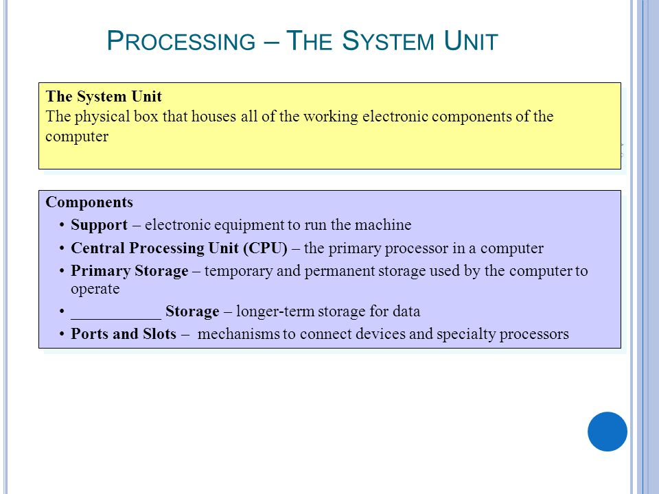 A-9 P ROCESSING – T HE S YSTEM U NIT The System Unit The physical box that houses all of the working electronic components of the computer The System Unit The physical box that houses all of the working electronic components of the computer Components Support – electronic equipment to run the machine Central Processing Unit (CPU) – the primary processor in a computer Primary Storage – temporary and permanent storage used by the computer to operate ___________ Storage – longer-term storage for data Ports and Slots – mechanisms to connect devices and specialty processors Components Support – electronic equipment to run the machine Central Processing Unit (CPU) – the primary processor in a computer Primary Storage – temporary and permanent storage used by the computer to operate ___________ Storage – longer-term storage for data Ports and Slots – mechanisms to connect devices and specialty processors