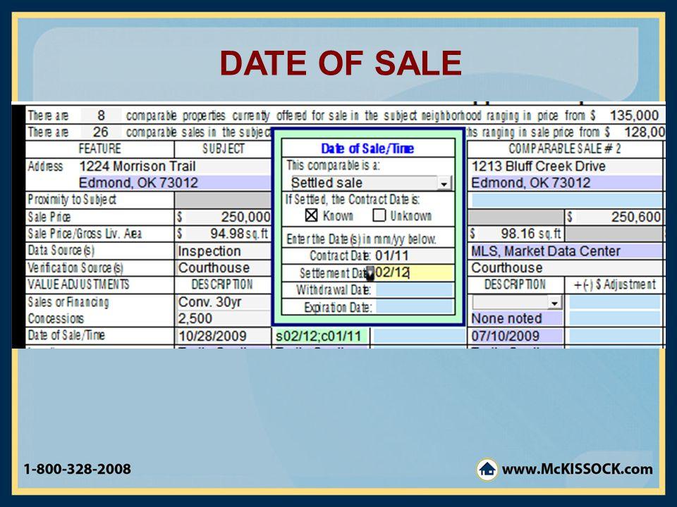 DATE OF SALE