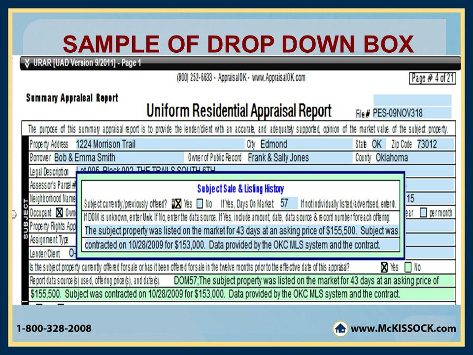 SAMPLE OF DROP DOWN BOX