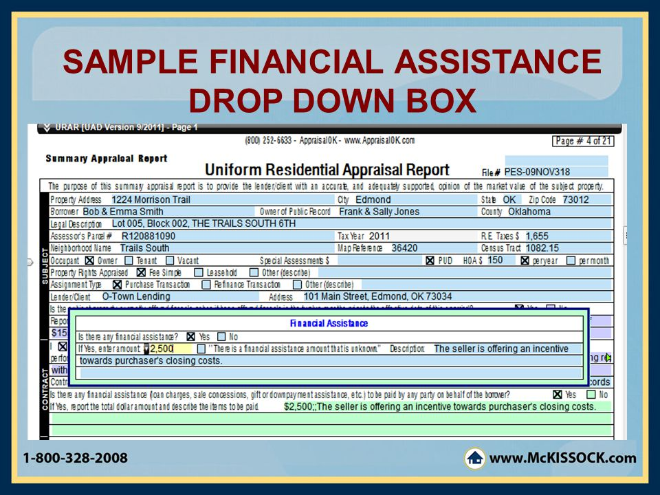 SAMPLE FINANCIAL ASSISTANCE DROP DOWN BOX