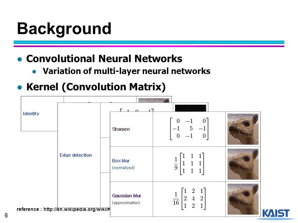 7 Background ● Convolutional Filter reference : http://cs.nyu.edu/~fergus/tutorials/deep_learning_cvpr12/fergus_dl_tutorial_final.pptx Input Feature Map......