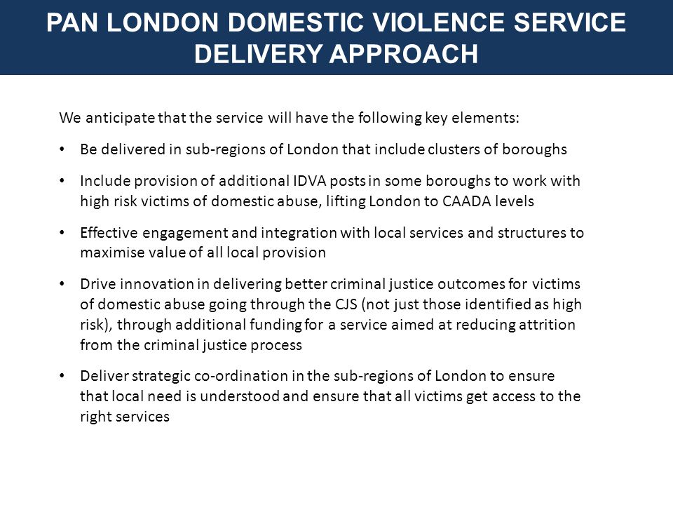 We anticipate that the service will have the following key elements: Be delivered in sub-regions of London that include clusters of boroughs Include provision of additional IDVA posts in some boroughs to work with high risk victims of domestic abuse, lifting London to CAADA levels Effective engagement and integration with local services and structures to maximise value of all local provision Drive innovation in delivering better criminal justice outcomes for victims of domestic abuse going through the CJS (not just those identified as high risk), through additional funding for a service aimed at reducing attrition from the criminal justice process Deliver strategic co-ordination in the sub-regions of London to ensure that local need is understood and ensure that all victims get access to the right services PAN LONDON DOMESTIC VIOLENCE SERVICE DELIVERY APPROACH