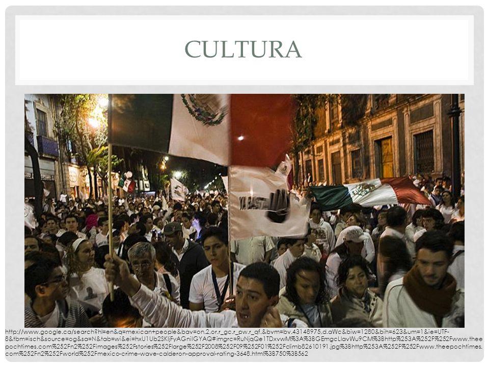 CULTURA http://www.google.ca/search hl=en&q=mexican+people&bav=on.2,or.r_gc.r_pw.r_qf.&bvm=bv.43148975,d.aWc&biw=1280&bih=623&um=1&ie=UTF- 8&tbm=isch&source=og&sa=N&tab=wi&ei=hxU1Ub2SKIjFyAGniIGYAQ#imgrc=RuNjqQe1TDxvwM%3A%3BGEmgcLlavWu9CM%3Bhttp%253A%252F%252Fwww.thee pochtimes.com%252Fn2%252Fimages%252Fstories%252Flarge%252F2008%252F09%252F01%252Fclimb82610191.jpg%3Bhttp%253A%252F%252Fwww.theepochtimes.
