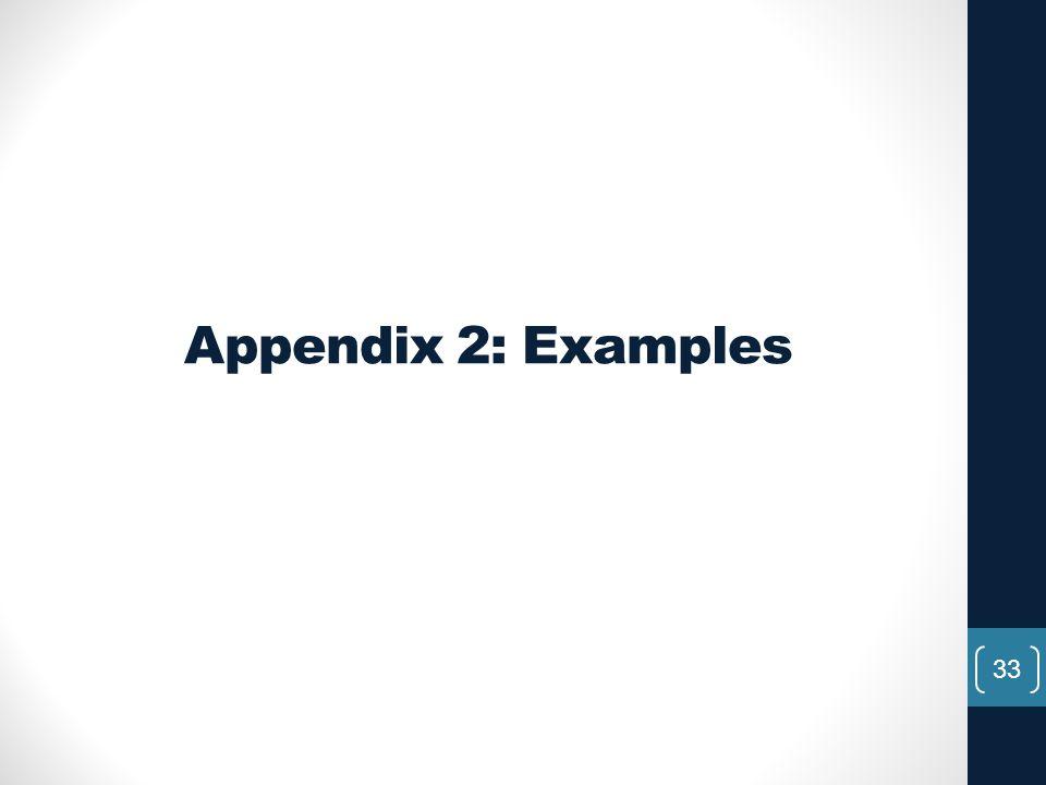 Appendix 2: Examples 33