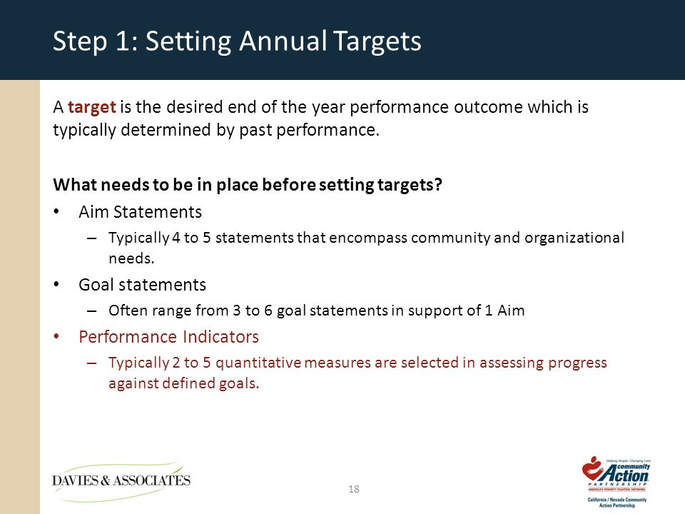 Step 1: Setting Annual Targets A target is the desired end of the year performance outcome which is typically determined by past performance.