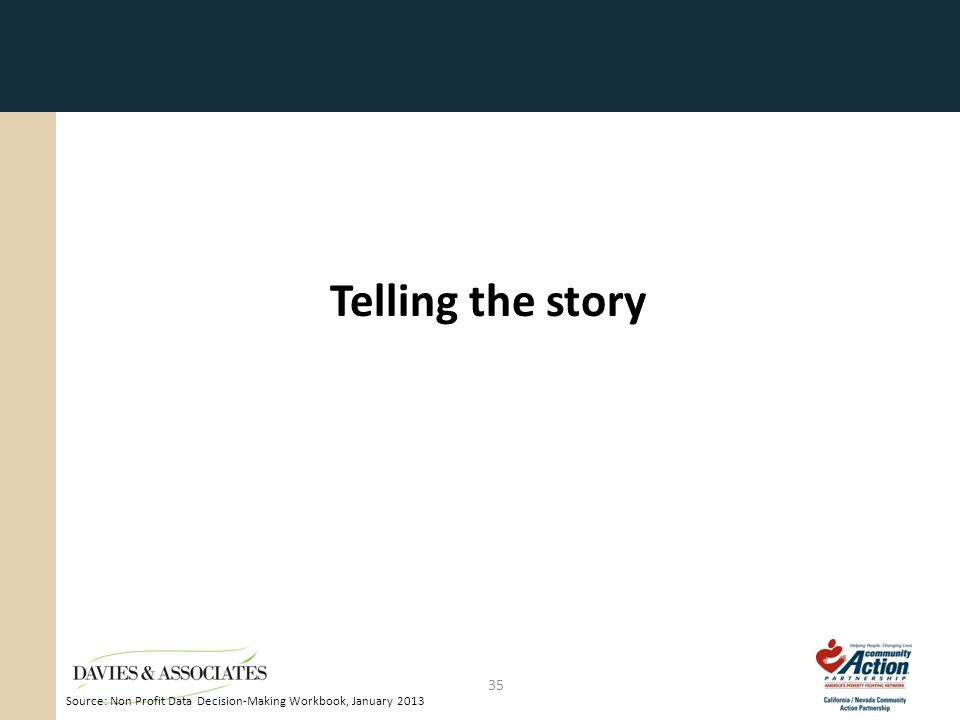 Telling the story 35 Source: Non Profit Data Decision-Making Workbook, January 2013