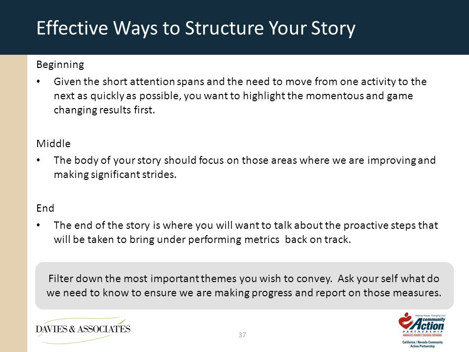 Effective Ways to Structure Your Story Beginning Given the short attention spans and the need to move from one activity to the next as quickly as possible, you want to highlight the momentous and game changing results first.