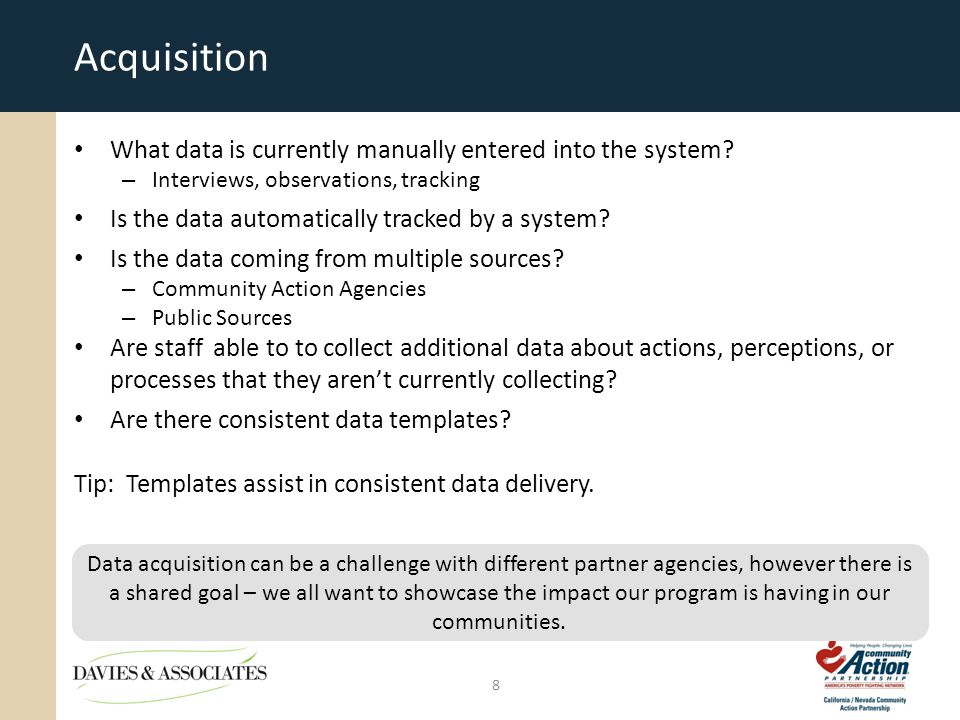 Acquisition What data is currently manually entered into the system.