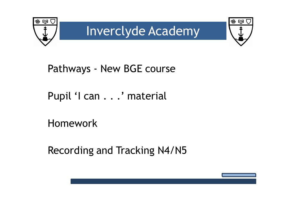 Pathways - New BGE course Pupil 'I can...' material Homework Recording and Tracking N4/N5 Inverclyde Academy