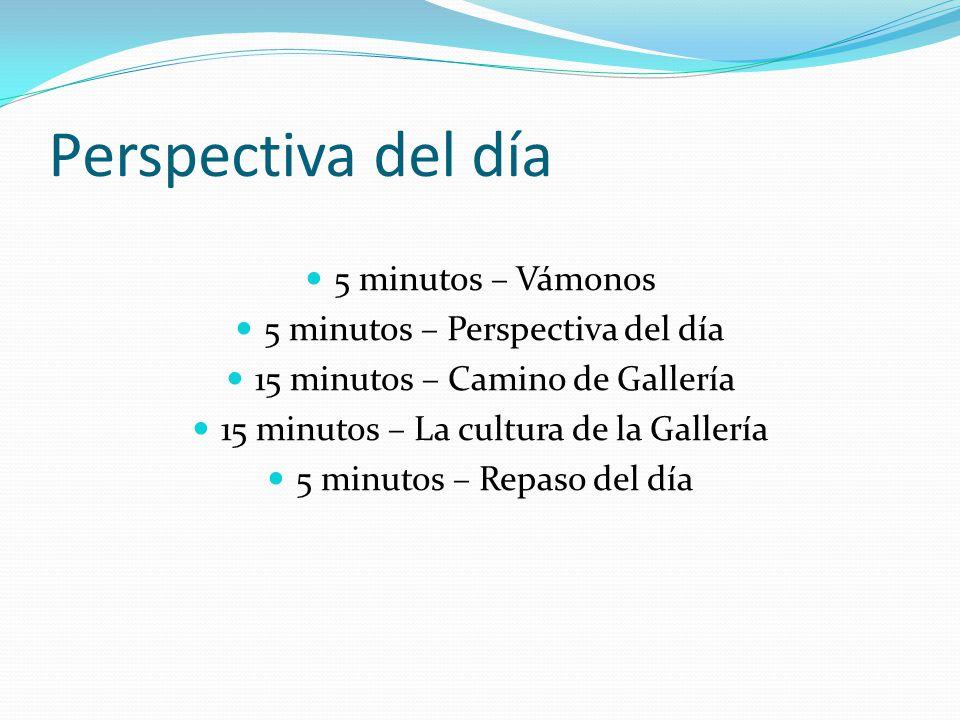 Perspectiva del día 5 minutos – Vámonos 5 minutos – Perspectiva del día 15 minutos – Camino de Gallería 15 minutos – La cultura de la Gallería 5 minutos – Repaso del día
