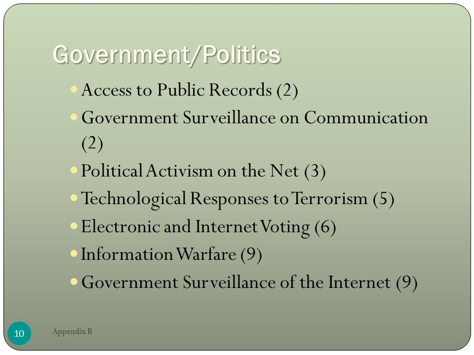 Government/Politics Access to Public Records (2) Government Surveillance on Communication (2) Political Activism on the Net (3) Technological Responses to Terrorism (5) Electronic and Internet Voting (6) Information Warfare (9) Government Surveillance of the Internet (9) 10 Appendix B