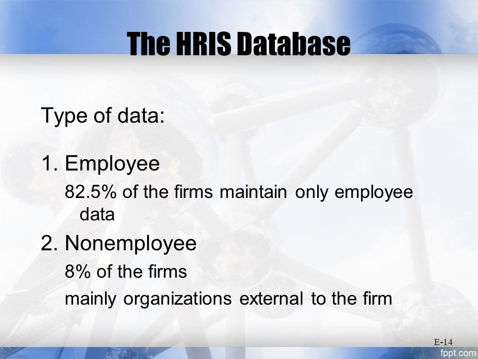 The HRIS Database Type of data: 1. Employee 82.5% of the firms maintain only employee data 2.