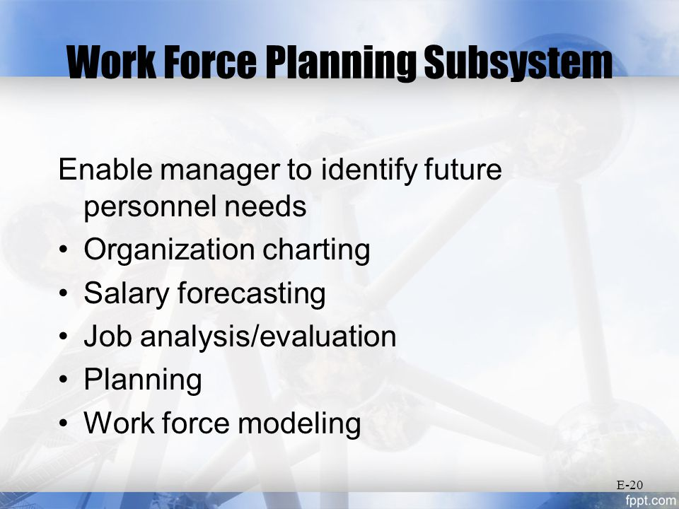 Work Force Planning Subsystem Enable manager to identify future personnel needs Organization charting Salary forecasting Job analysis/evaluation Planning Work force modeling E-20
