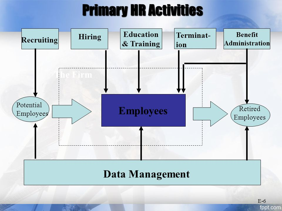 The HRIS The name HRMS (Human Resource Management System) is also catching on in industry May not always be computer-based Manages HR data and information E-7