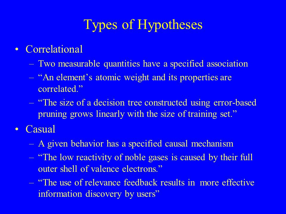 "Types of Hypotheses Correlational –Two measurable quantities have a specified association –""An element's atomic weight and its properties are correlat"