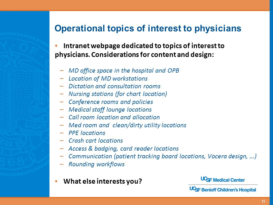 Operational topics of interest to physicians Intranet webpage dedicated to topics of interest to physicians. Considerations for content and design: –M