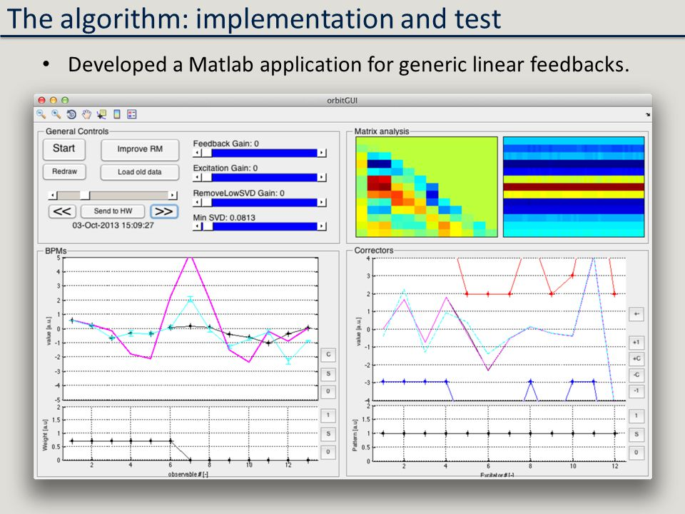 The algorithm: implementation and test Developed a Matlab application for generic linear feedbacks.