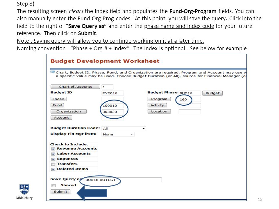 Step 8) The resulting screen clears the Index field and populates the Fund-Org-Program fields.