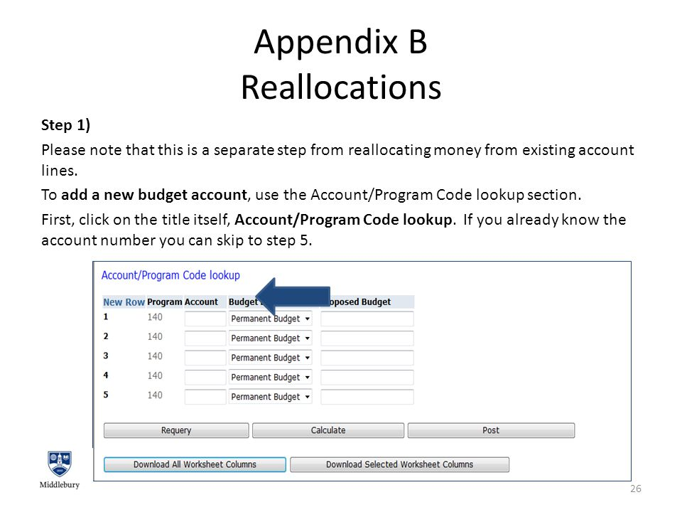 Appendix B Reallocations Step 1) Please note that this is a separate step from reallocating money from existing account lines.