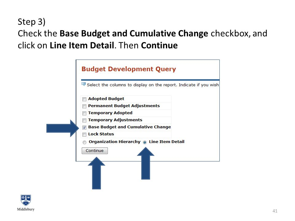 Step 3) Check the Base Budget and Cumulative Change checkbox, and click on Line Item Detail.