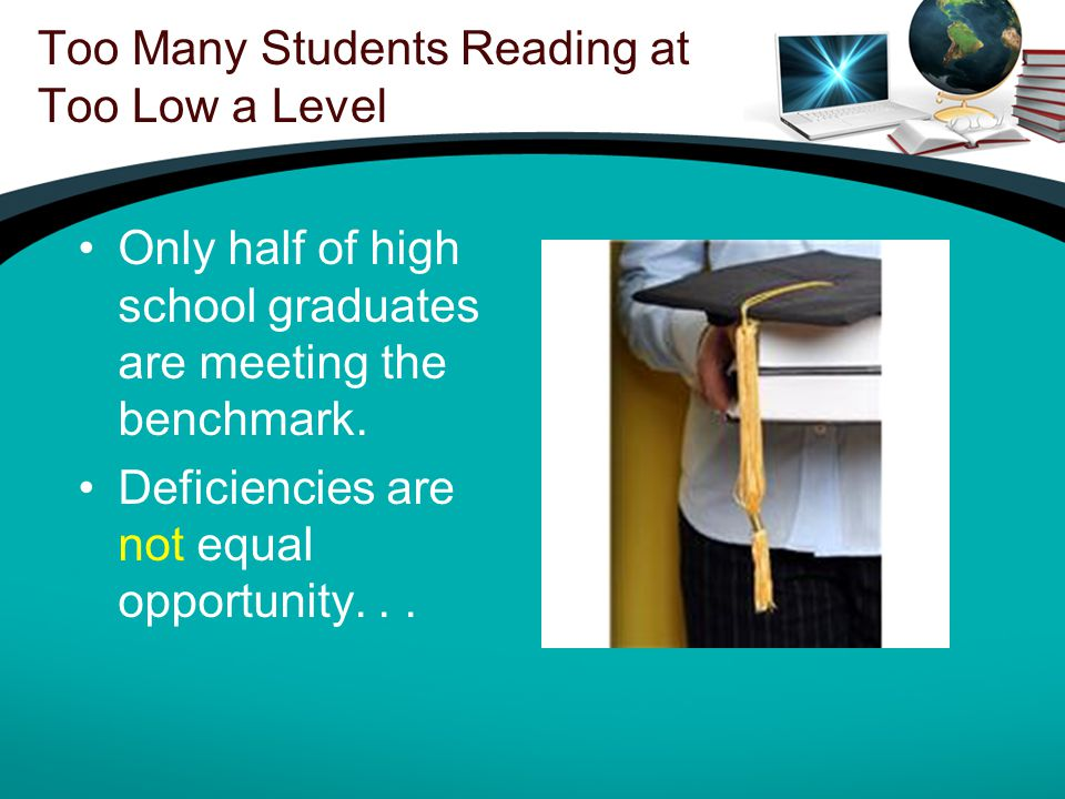 Too Many Students Reading at Too Low a Level Only half of high school graduates are meeting the benchmark.