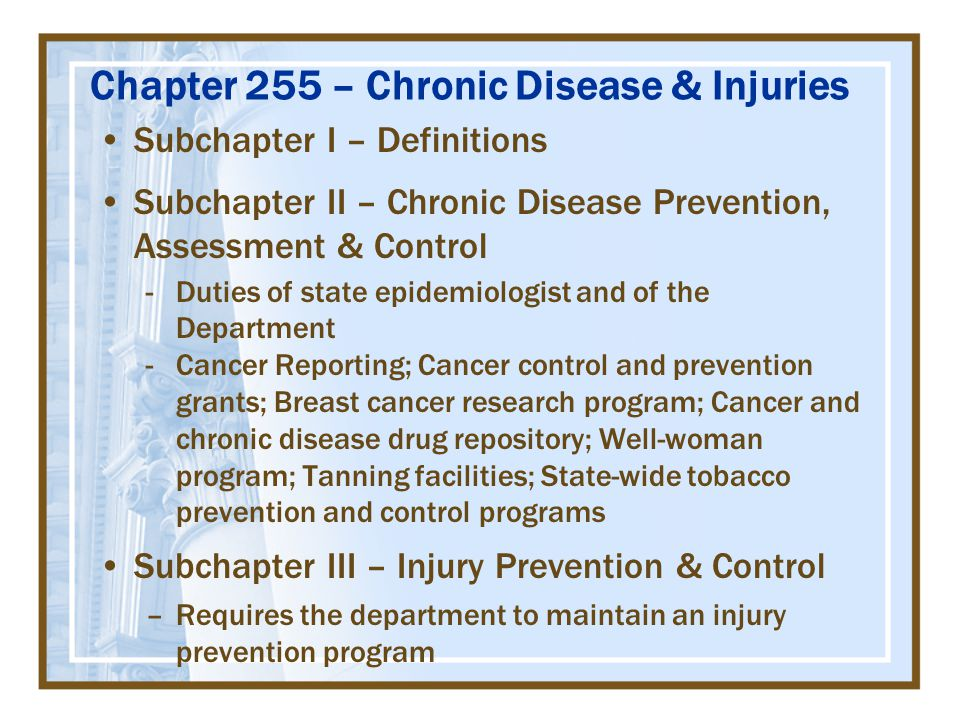 Chapter 255 – Chronic Disease & Injuries Subchapter I – Definitions Subchapter II – Chronic Disease Prevention, Assessment & Control -Duties of state