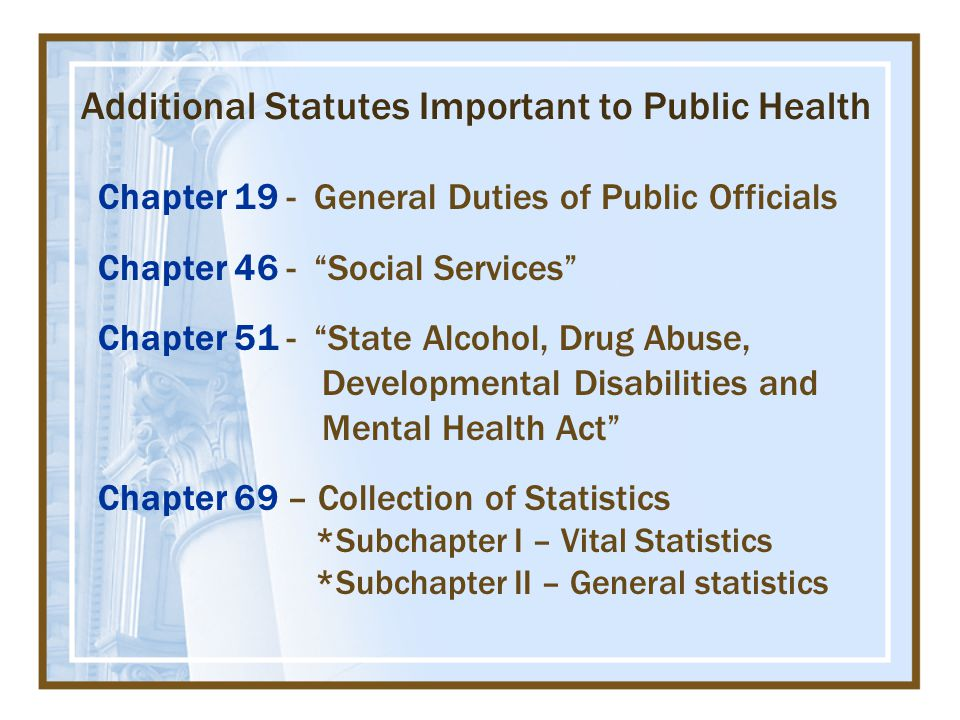 Chapter 19 - General Duties of Public Officials Chapter 46 - Social Services Chapter 51 - State Alcohol, Drug Abuse, Developmental Disabilities and Mental Health Act Chapter 69 – Collection of Statistics *Subchapter I – Vital Statistics *Subchapter II – General statistics Additional Statutes Important to Public Health