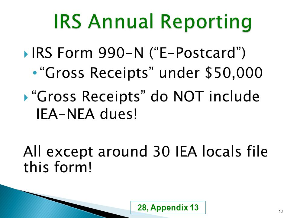 " IRS Form 990-N (""E-Postcard"") ""Gross Receipts"" under $50,000  ""Gross Receipts"" do NOT include IEA-NEA dues! All except around 30 IEA locals file th"