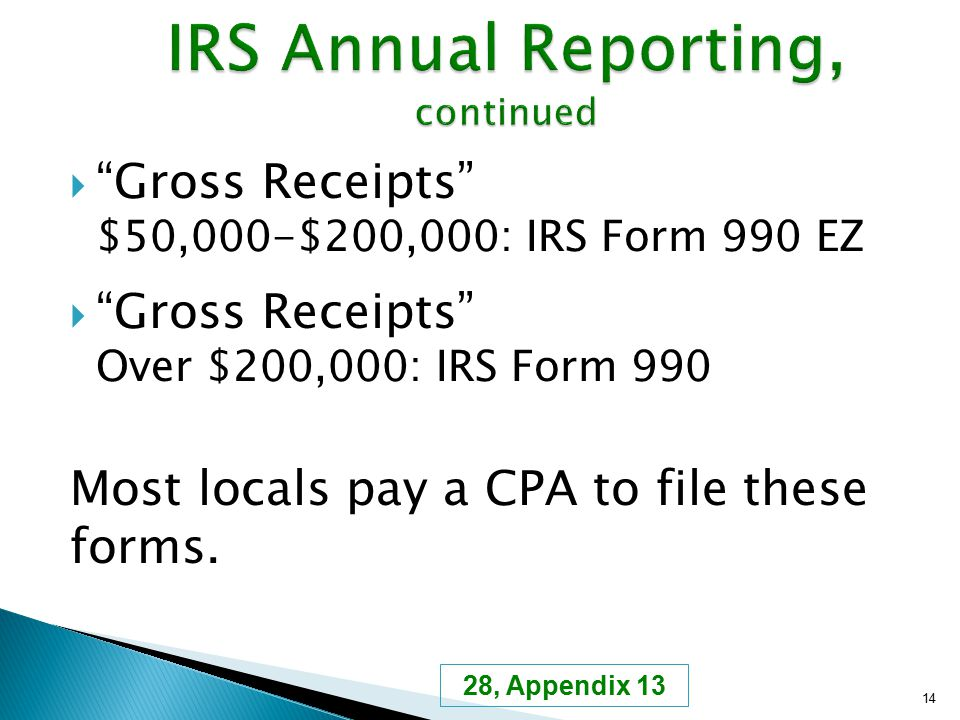 " ""Gross Receipts"" $50,000-$200,000: IRS Form 990 EZ  ""Gross Receipts"" Over $200,000: IRS Form 990 Most locals pay a CPA to file these forms. 14 28,"