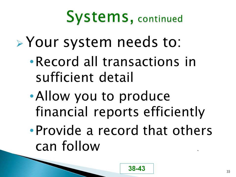  Your system needs to: Record all transactions in sufficient detail Allow you to produce financial reports efficiently Provide a record that others c
