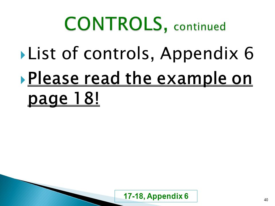  List of controls, Appendix 6  Please read the example on page 18! 40 17-18, Appendix 6