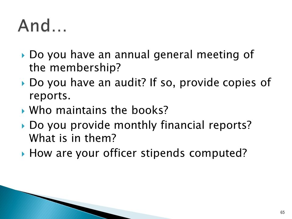  Do you have an annual general meeting of the membership?  Do you have an audit? If so, provide copies of reports.  Who maintains the books?  Do y