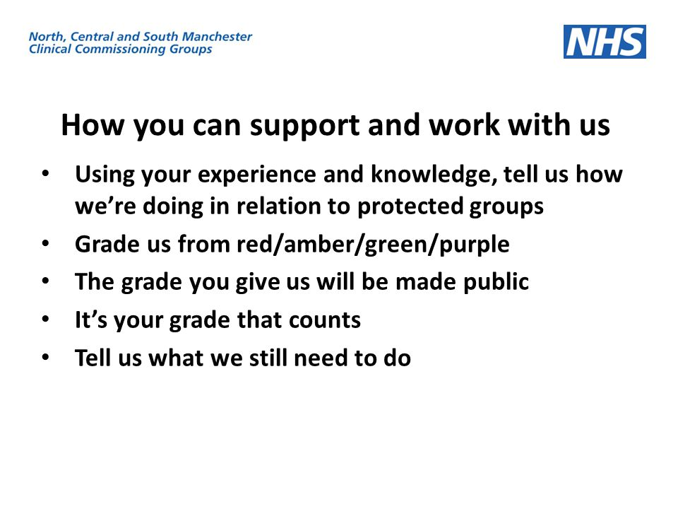 How you can support and work with us Using your experience and knowledge, tell us how we're doing in relation to protected groups Grade us from red/am