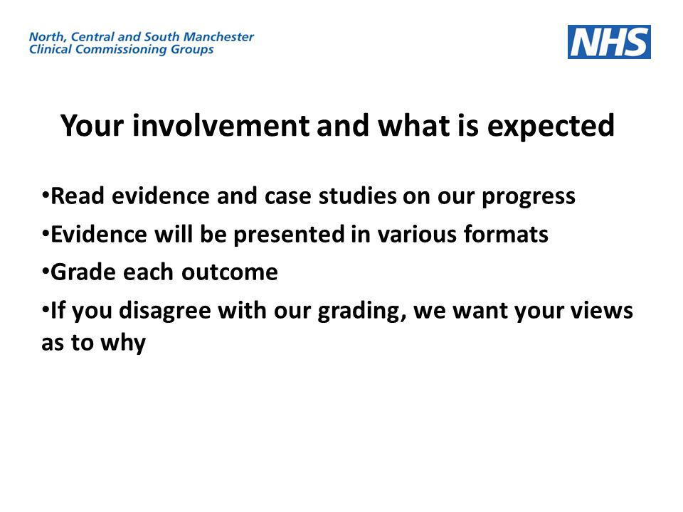 Your involvement and what is expected Read evidence and case studies on our progress Evidence will be presented in various formats Grade each outcome