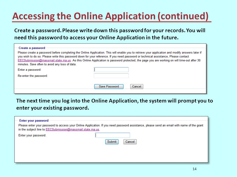 Accessing the Online Application (continued) 14 Create a password.