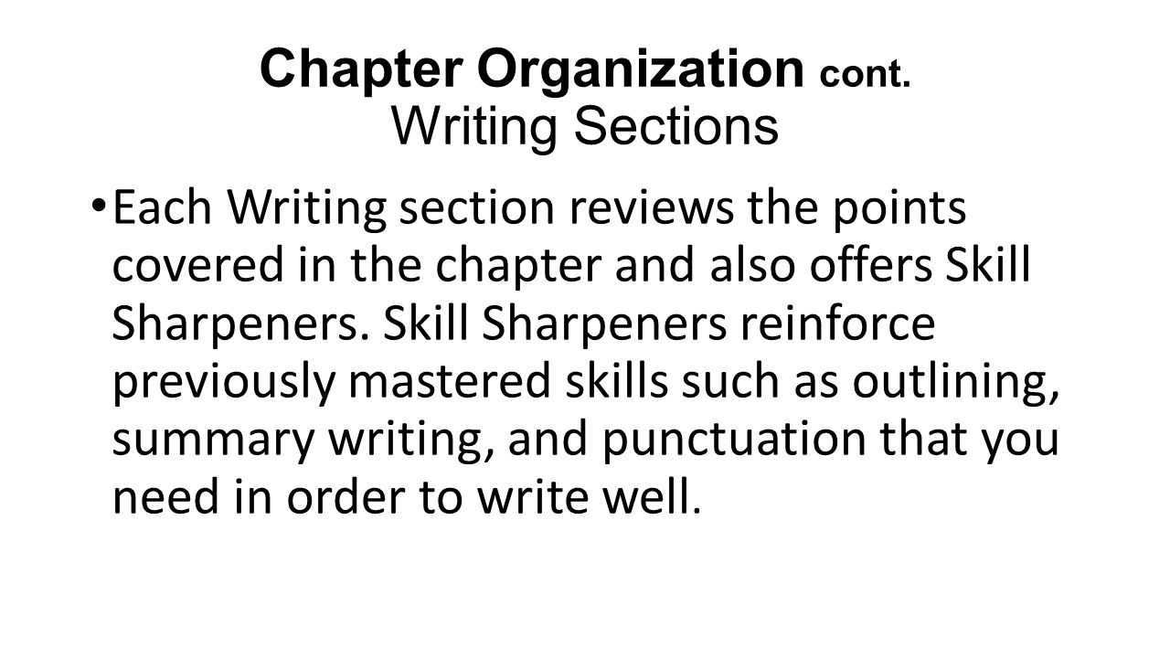 Chapter Organization cont.