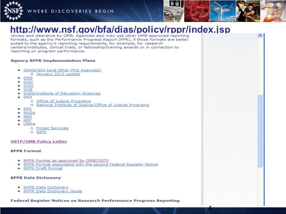 http://www.nsf.gov/bfa/dias/policy/rppr/index.jsp 4
