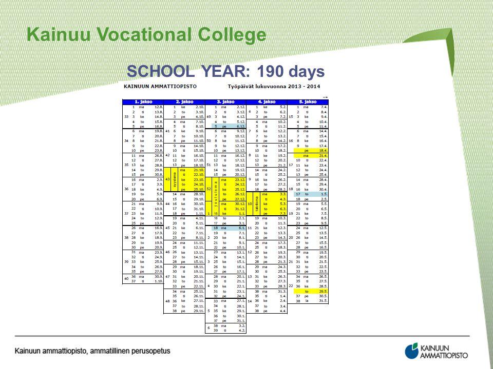 SCHOOL YEAR: 190 days