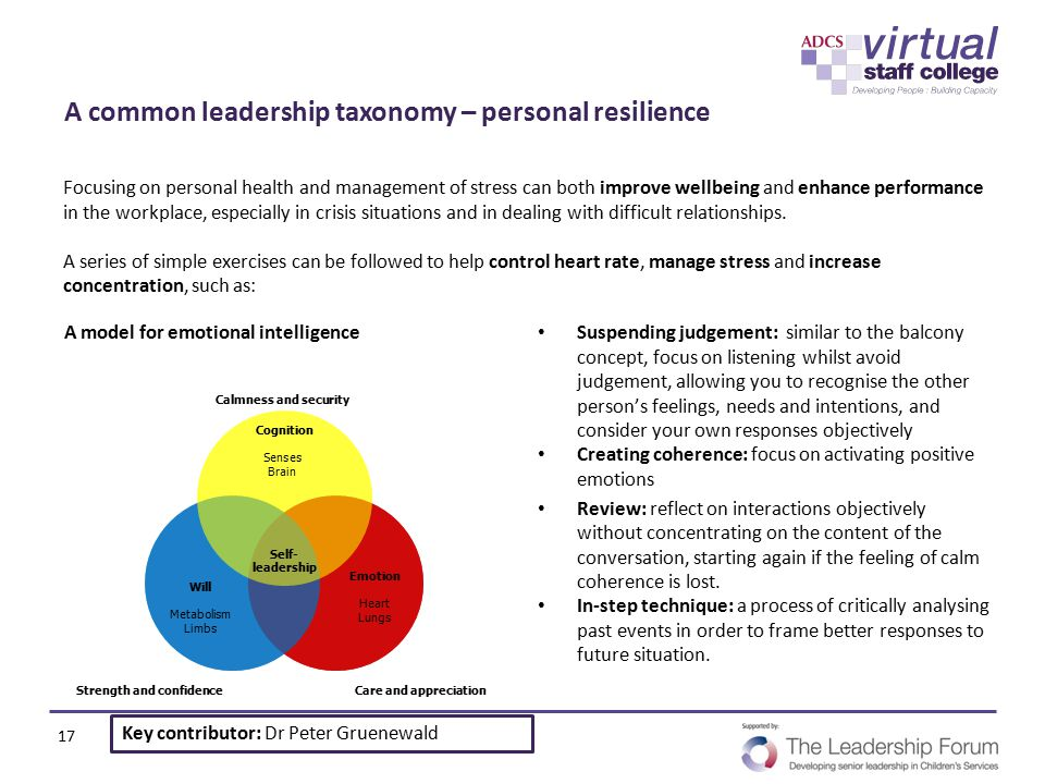 A common leadership taxonomy – personal resilience Focusing on personal health and management of stress can both improve wellbeing and enhance perform